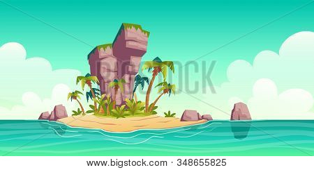 Tropical Island In Ocean With Palm Trees And Rock. Vector Cartoon Illustration Of Summer Sea Landsca