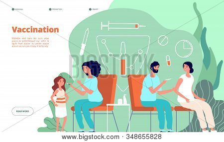 Vaccination Landing Page. Flu Vaccine, Baby And Adult Web Banner. Health, Immunization, Clinic Or Ho