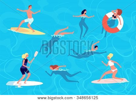 People Swimming. Summer Swim, Woman Man In Vacation. People In Sea Or Ocean, Surfing And Relaxing In