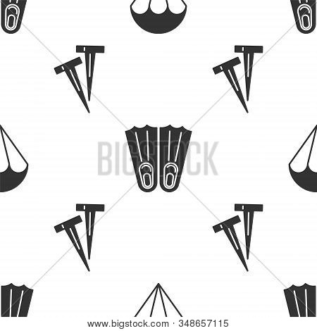 Set Parachute, Rubber Flippers For Swimming And Pegs For Tents On Seamless Pattern. Vector