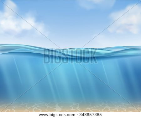 Ocean Surface. Underwater Blue Water Ocean, Suns Rays And Seabed. Clouds, Sea Waves Horizontal Panor