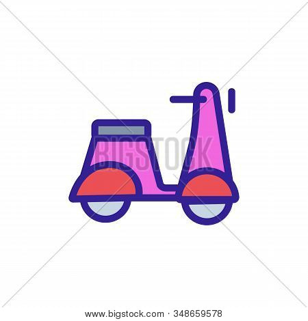 Moped Icon Vector. A Thin Line Sign. Isolated Contour Symbol Illustration