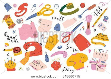 Sewing Collection. Vector Illustrations Of Sewing Tools, Equipment And Accessories. Modern Flat Cart