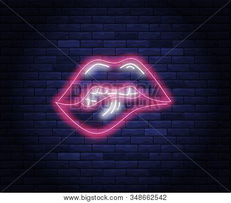 Beautiful Female Pink Lips Neon Vector Illustration. Brightly Illuminated Neon Sign Of Sexy Woman Li