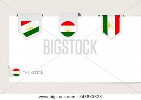 Label Flag Collection Of Tajikistan In Different Shape. Ribbon Flag Template Of Tajikistan Hanging F
