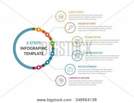 Diagram Template With Six Steps Or Options, Workflow, Process Chart, Infographic Template For Web, B