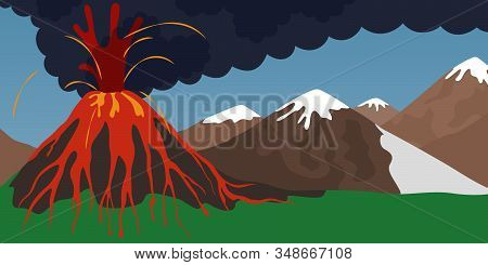 Natural Disaster Concept. Volcano Erupting With Spewing Lava