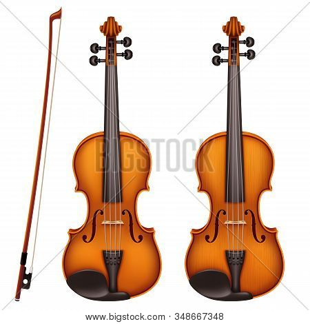 Realistic Vector Detailed Violin With Fiddlestick Isolated On A White Background. Classical Stringed