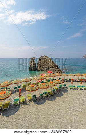 The rock at the beach in Monterosso Al Mare, Cinque Terre, Italy.