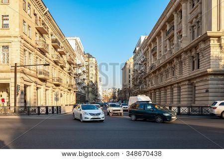 Baku, Azerbaijan 27 January 2020 - Traffic The Streets Of Baku.