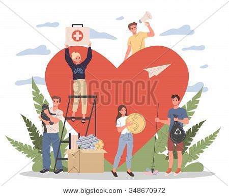Volunteers Vector Illustration. Young People Packing Donation Box With Money, Collecting Garbage, Ta