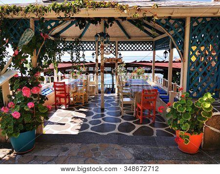 Bulgarian Restaurant Near The Sea As Nice Background