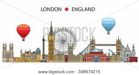Colorful Vector Line Art Illustration Of London Landmarks Isolated On White Background. London Skyli