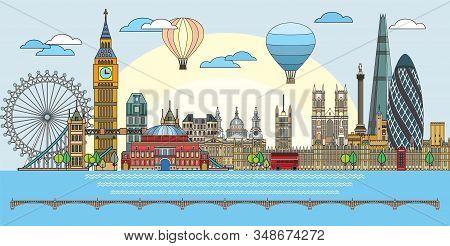 Colorful Vector Line Art Illustration Of London Landmarks. London Skyline Vector Illustration In Blu