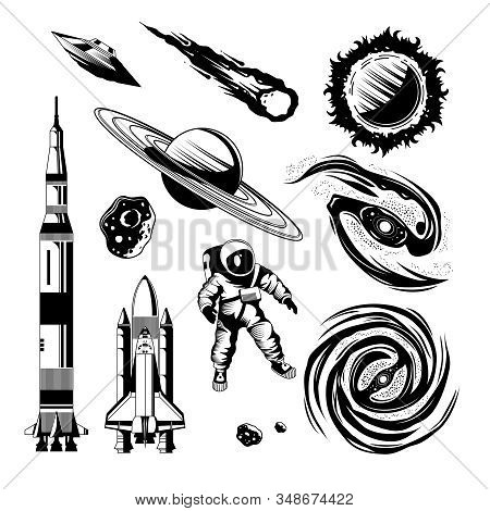 Space Engraving Hand Drawn Set Of Rockets Planets Comet Ufo Astronaut Isolated On White Background V