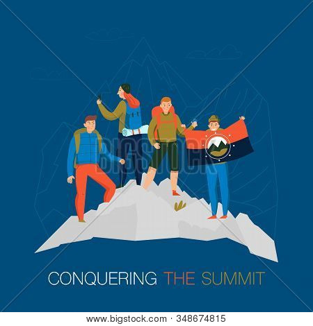 Mountains Climbing Trekking Camping Flat Background Composition With Conquering  Summit Mountaineers