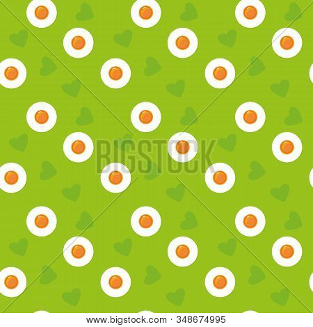 Cute Cartoon Seamless Green Eggs Pattern. Spring Easter Print Fried Eggs And Hearts. Holidays Concep