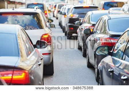 traffic jam in a city street road