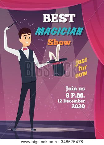 Magic Show Poster. Magician Character Show Tricks Wizard With Mystery Cap Vector Placard Invitation.