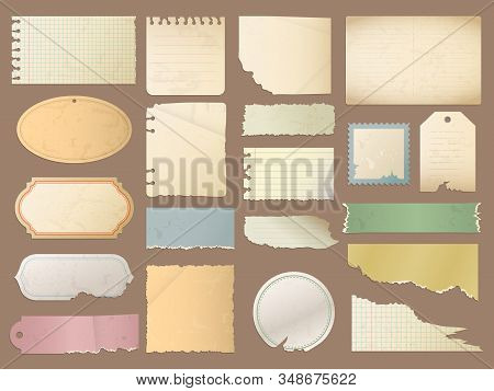 Vintage Paper. Retro Scrapbook Sticker Scratched Design Elements For Retro Diary Vector Textured Bla