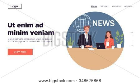 Couple Of Newscasters. News Anchor Interviewing Guest Flat Vector Illustration. Tv Show, Broadcastin