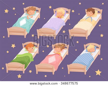 Kids Sleeping. Quiet Hour In Kindergarten Blanket Childrens Bedroom Rest Of Boys And Girls Relaxing
