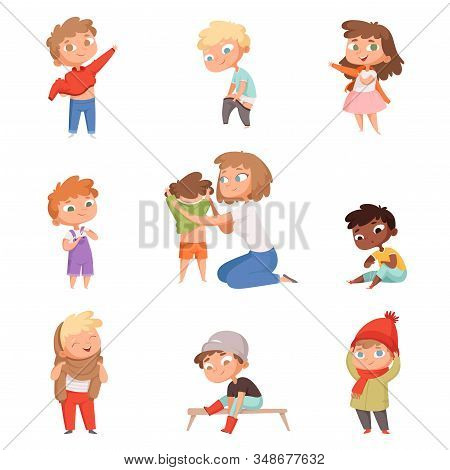 Dressing Up Kids. Children Changing Clothes Dresses And Pants With Shoes Vector Pictures Set. Child