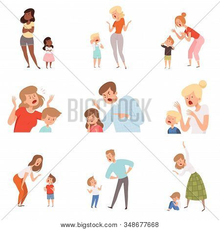 Sad Parents. Angry Dad Punish Son Scared Kids Expression Reaction Crying Childrens Vector Pictures.