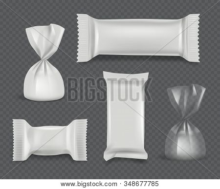 Candy Package. Realistic Paper Wrappers Glossy Pack For Chocolate Sweets Vector Mockup Set. Foil Pac