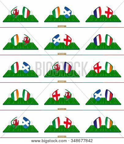 Rugby Team Wales, Italy, Ireland, Scotland, France, England On Green Rugby Field, Teams In Rugby Cha