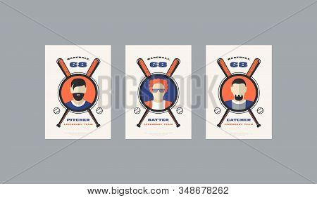 Set Of Baseball Card Design In Retro Style. Player Cards For Pitcher, Batter And Catcher