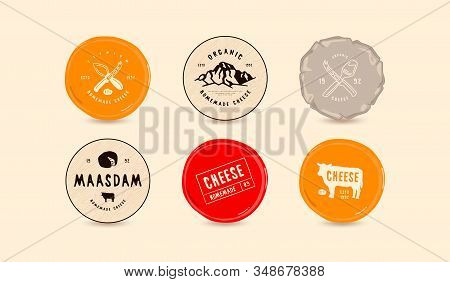Set Of Template Labels For Cheese. Labels For Camembert, Maasdam And Other Cheeses