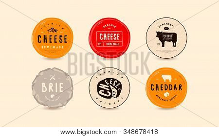 Set Of Template Labels For Cheese. Labels For Camembert, Cheddar And Other Cheeses