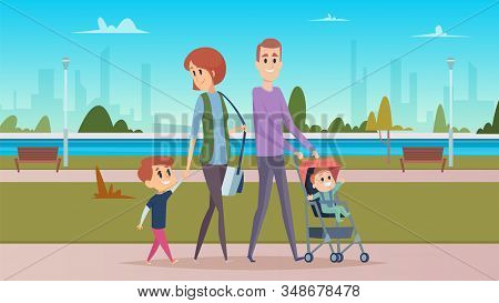 Family Walk In City Park. Happy Parenthood, Cute Cartoon Babies. Mother, Father And Sons Vector Char