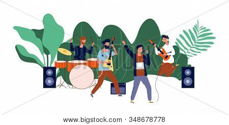 Male Team Concert. Boys Band, Men Musicians Or Pop Group. Open Air Rock Festival, Music Event Vector