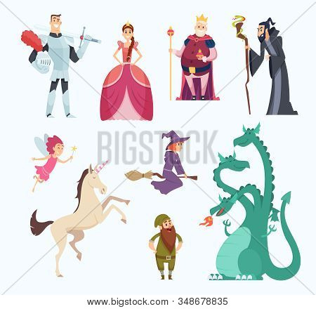 Fairy Tales Heroes. Witch Wizard Princess Dragon Funny Characters In Cartoon Style Vector Set. Fanta