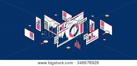 Stock Vector Seo Analytics Illustration. Concept Of Banner In Flat Design Isometric Style For Websit