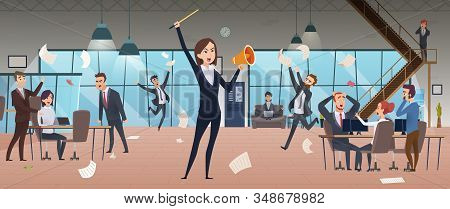 Angry Female Boss. Deadline Corporate Processes Managers Problem Running In Stress Workplace Office