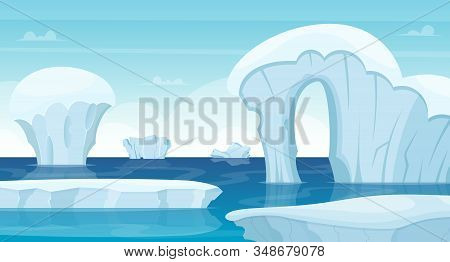 Ice Rocks Background. North Pole Landscape White Iceberg In Ocean Winter Cold Outdoor Travel Concept