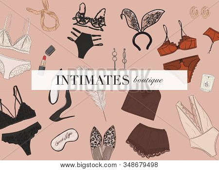Sexy Lingerie Set, Bra And Undies Underwear Collection, Lace Bodysuit, Sleeping Mask Playtime Illust