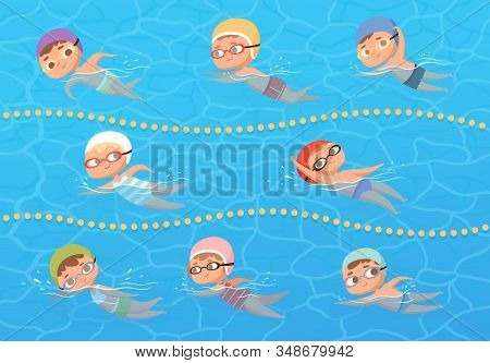 Kids In Water Pool. Children Sport Education Swimming Lesson Vector Cartoon Clipart. Sport Pool Wate