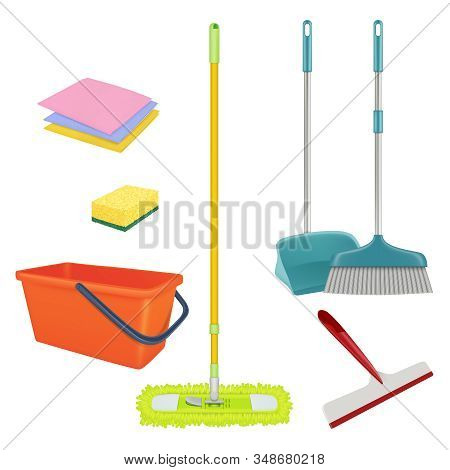 Cleaning Service. Realistic Equipment For Laundry Home Floor Brush Bucket Broom Sterile Bathroom Cle