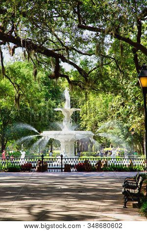 Savannah, Georgia - April 29, 2019: Savannah Is The Oldest City In Georgia. From The Historic Archit
