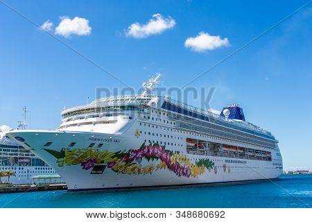 Nassau, Bahamas - Feburary 18, 2018: Norwegian Cruise Lines, Which Also Owns Oceania And Regent Seve