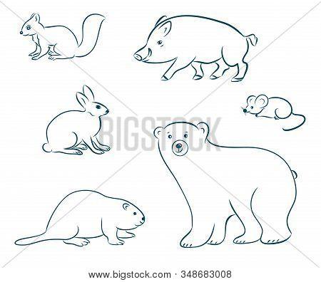 Cartoon Forest Animals Set. Bear, Squirrel, Hare, Boar, Beaver, Mouse. Hand Drawn Doodle Vector Illu