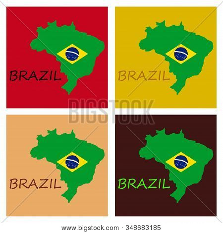 Map Of Brasil Icon. Flat Illustration Of Vector Icon For Web On Yellow Background