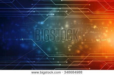 Abstract Futuristic Circuit Board Illustration, Digital Abstract Technology Background, Futuristic B