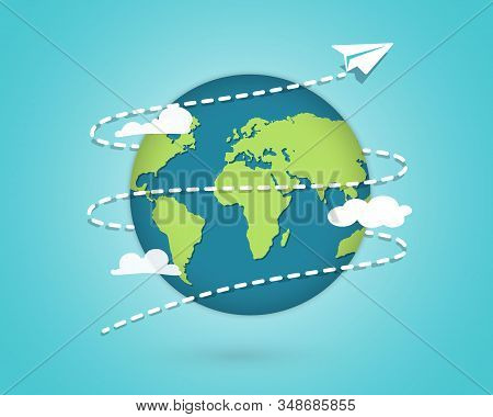 Paper Plane Flying Around The Globe. Around The World Travelling By Plane, Airplane Trip In Various