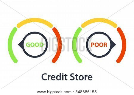 Credit Score Gauge. Credit Score Rating Scale. Abstract Concept Application Risk Form Document Loan