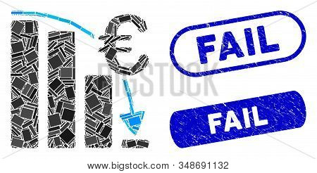 Mosaic Euro Epic Fail Crisis And Rubber Stamp Watermarks With Fail Text. Mosaic Vector Euro Epic Fai